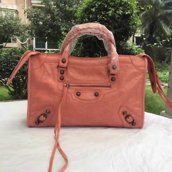 Fake Balenciaga Orange Citys Sheepskin Locomotive Bag Tote Messenger Bag
