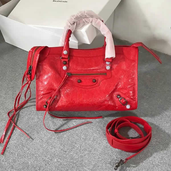 Fake Balenciaga Red Citys Sheepskin Locomotive Bag Tote Messenger Bag