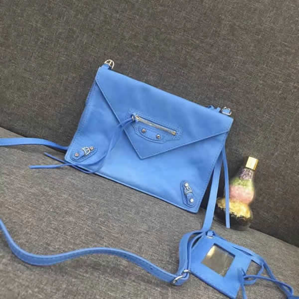 New Balenciaga Leather Envelope Blue Shoulder Messenger Bag