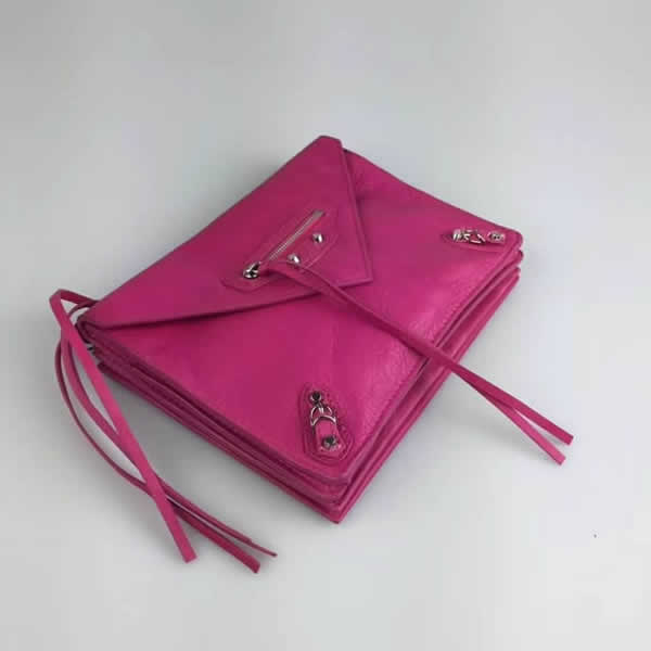 New Balenciaga Leather Envelope Purple Shoulder Messenger Bag