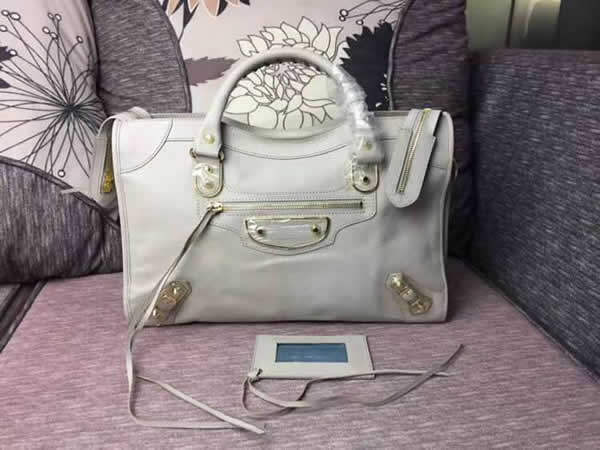Replica Balenciaga Mini City Beige Motorcycle Bag Messenger Bag