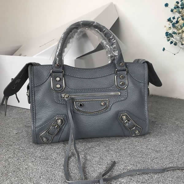 Replica Balenciaga Mini City Gray Motorcycle Bag Messenger Bag