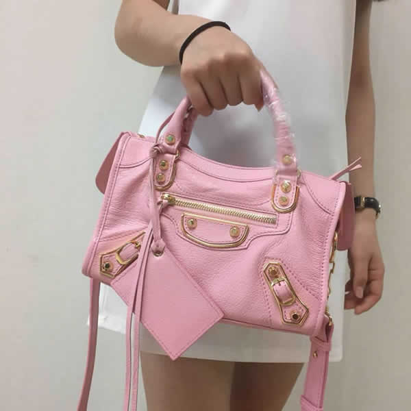 Replica Balenciaga Mini City Pink Motorcycle Bag Messenger Bag