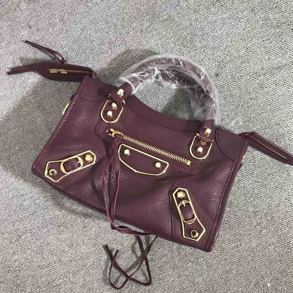 Replica Balenciaga Mini City Red Wine Motorcycle Bag Messenger Bag