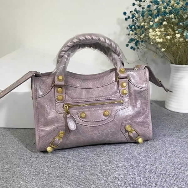 Replica Balenciaga Gray-Purple Mini City Motorcycle Bag Classic Bag