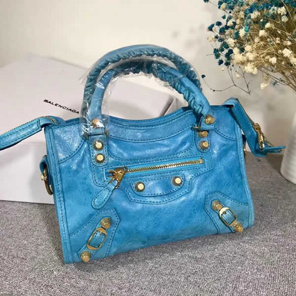 Replica Balenciaga Lake Blue Mini City Motorcycle Bag Classic Bag