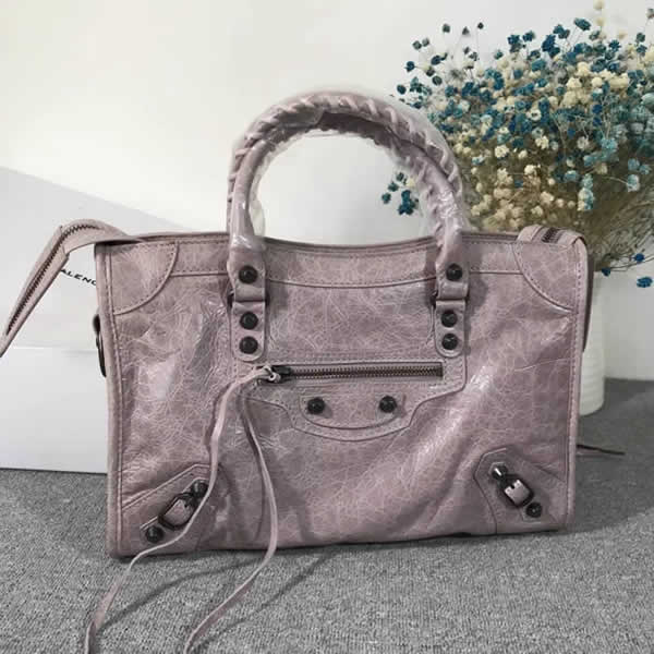 Fake Balenciaga Gray Purple Citys Sheepskin Locomotive Bag Tote Messenger Bag