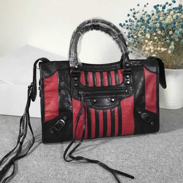 Fake Balenciaga Red Black Citys Sheepskin Locomotive Bag Tote Messenger Bag
