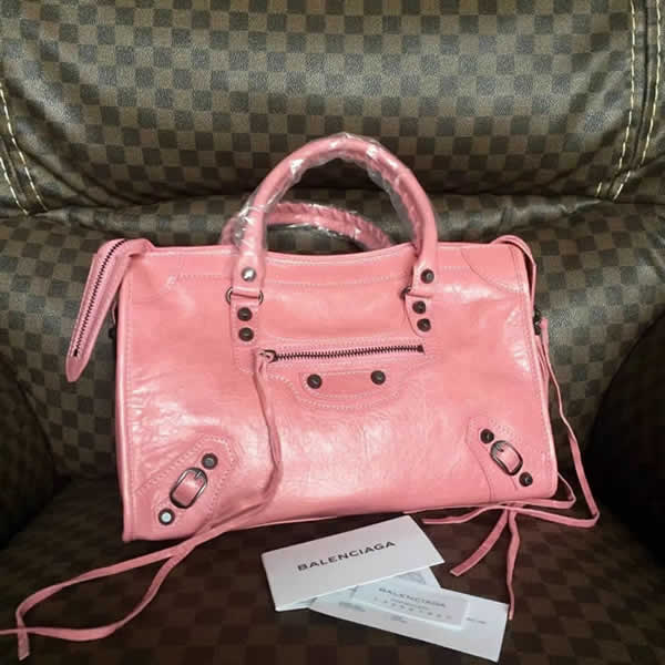 Fake Balenciaga Pink Citys Sheepskin Locomotive Bag Tote Messenger Bag