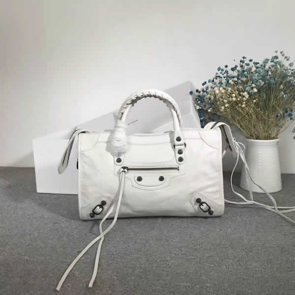 Fake Balenciaga White Citys Sheepskin Locomotive Bag Tote Messenger Bag