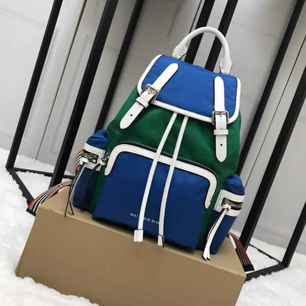 Cheap Burberry Color Matching House Nylon Leather Green Military Backpack