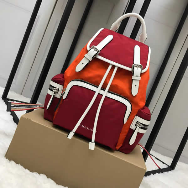 Cheap Burberry Color Matching House Nylon Leather Orange Military Backpack