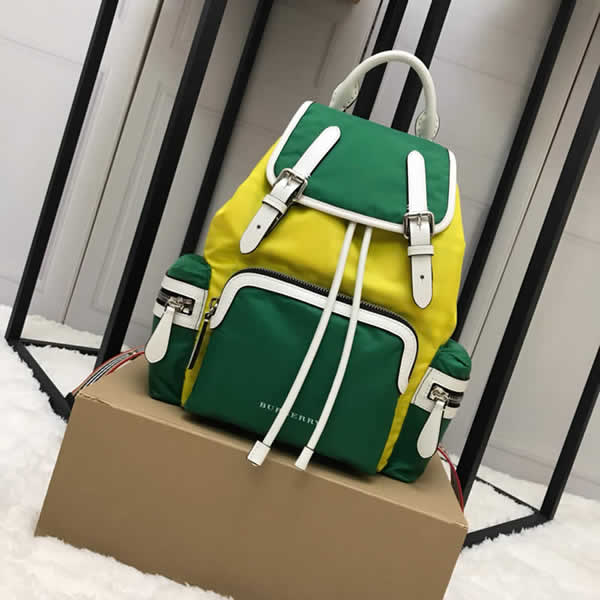 Cheap Burberry Color Matching House Nylon Leather Yellow Military Backpack