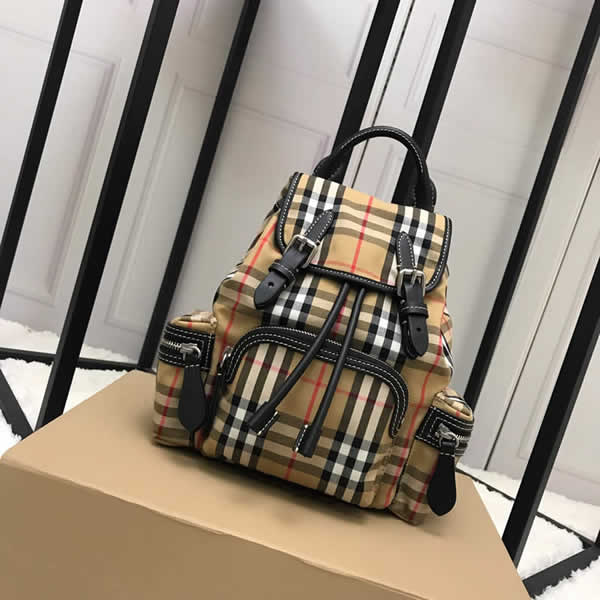 Cheap Burberry Color Matching House Nylon Leather Stripe Military Backpack