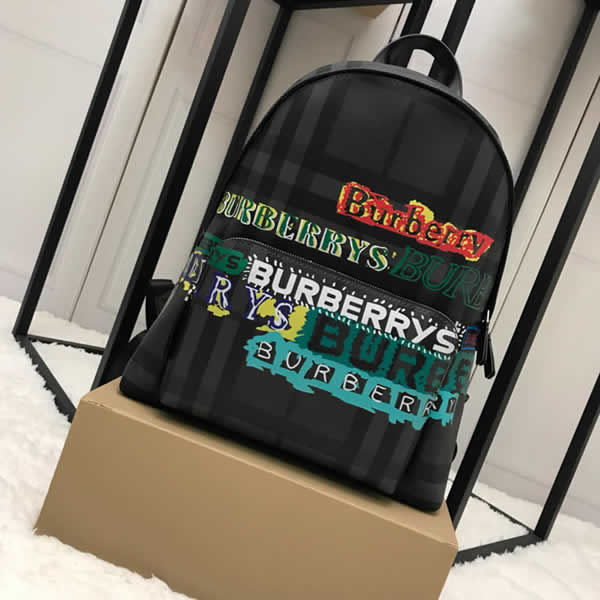 Cheap Burberry Color Matching House Nylon Leather Black Military Backpack