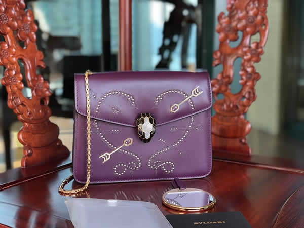 Fake Bvlgari Serpenti Forever Purple Pop-Heart Flap Bag Shoulder Bag 24068