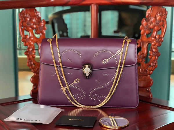 Fake Bvlgari Serpenti Forever Pop-Heart Flap Bag Purple Shoulder Bag 24068