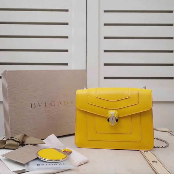 New Cheap Bvlgari Serpenti Forever Yellow Shoulder Crossbody Bag