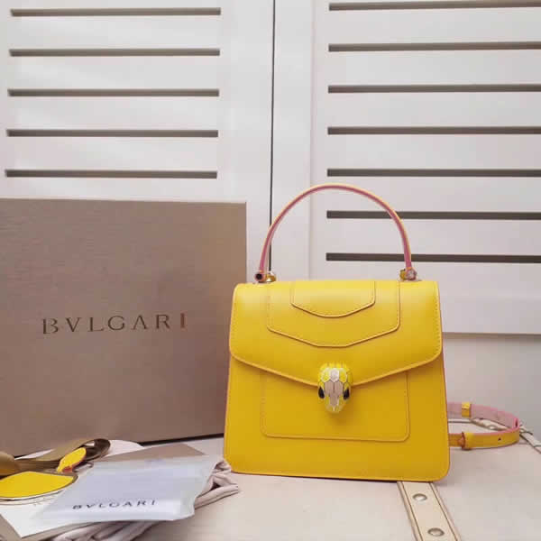 2019 New Bvlgari Serpenti Forever Yellow Tote Crossbody Bag
