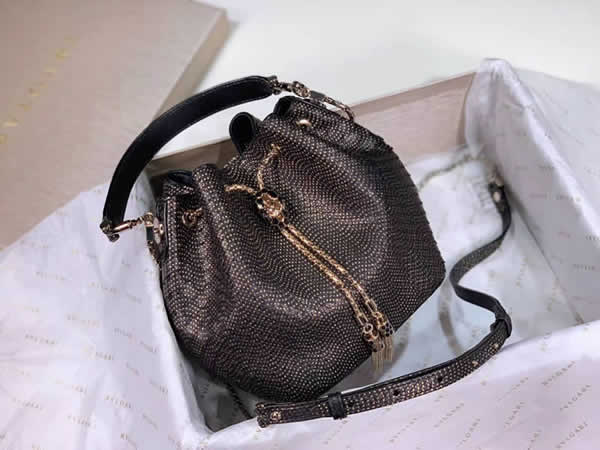 2019 New Bvlgari Snakeskin Dark Gray Bucket Bag Messenger Bag 287614