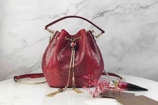 2019 New Bvlgari Snakeskin Red Bucket Bag Messenger Bag 287614