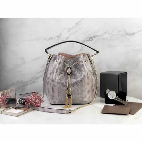 2019 New Bvlgari Snakeskin Silver Bucket Bag Messenger Bag 287614