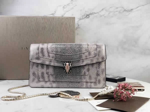 2019 New Bvlgari Snakeskin Flip Silver Shoulder Bag 37044