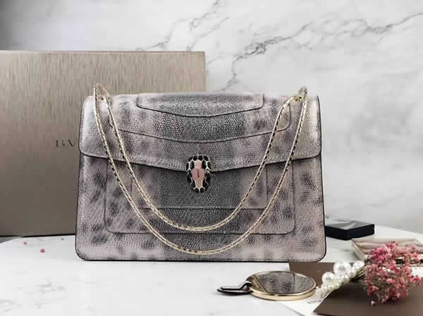2019 New Bvlgari Snakeskin Silver Flip Shoulder Bag 35362