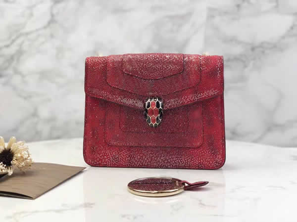 2019 Cheap Bvlgari Snakeskin Red Flip Messenger Bag 35107