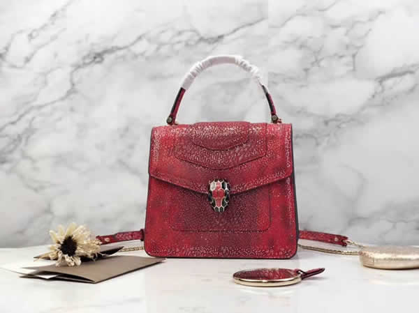 2019 Bvlgari Snakeskin Red Tote Messenger Bag Hot Sale 38329
