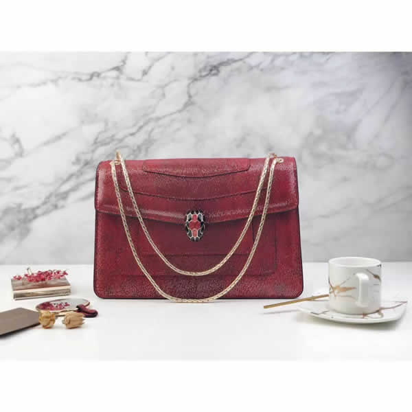 2019 Discount Bvlgari Snakeskin Red Flip Shoulder Bag 35362