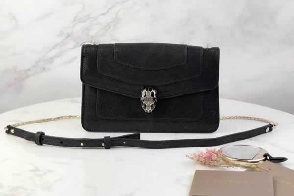 Wholesale Designer Bvlgari Snakeskin Black Shoulder Bag 38102