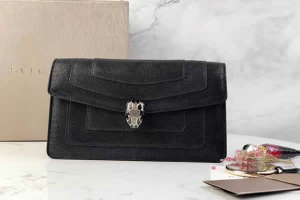 2019 New Fashion Bvlgari Snakeskin Black Flip Shoulder Bag 044