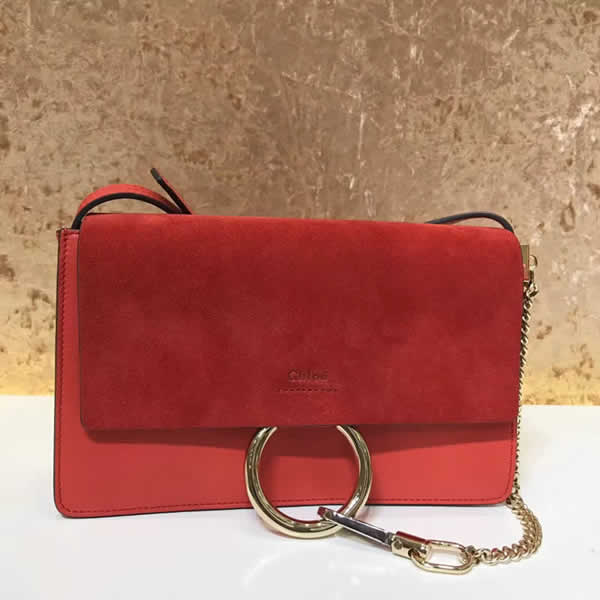 2019 Chloe Faye Bag Red Flap One Shoulder Crossbody Bag