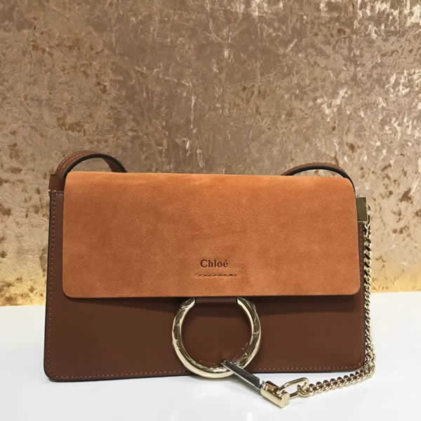 2019 Chloe Faye Bag Brown Flap One Shoulder Crossbody Bag