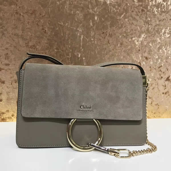 2019 Chloe Faye Bag Gray Flap One Shoulder Crossbody Bag
