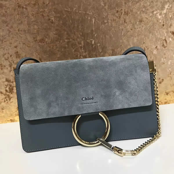 2019 Chloe Faye Bag Blue Flap One Shoulder Crossbody Bag