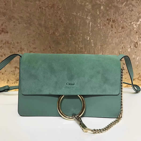 2019 Chloe Faye Bag Green Flap One Shoulder Crossbody Bag