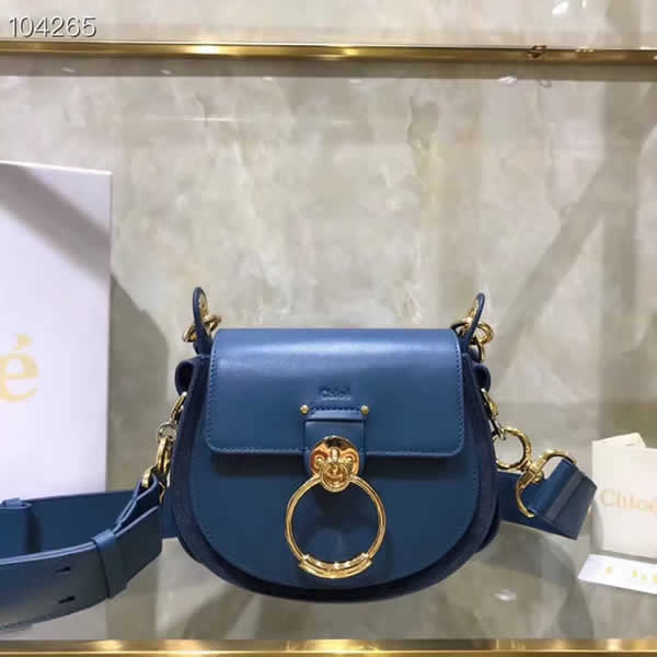 Replica Discount New Chloe Tess Blue Flap Shoulder Crossbody Bags