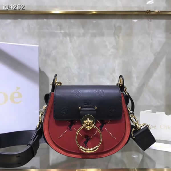 Top Quality Fake Chloe New Tess Saddle Bag Red Piggy Bag