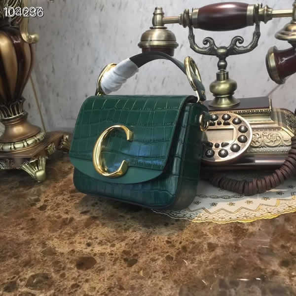 Fashion Cheap Fake Chloe C Bag Green Flap Crossbody Bag
