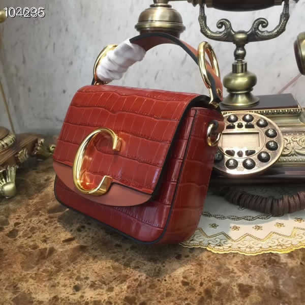 Fashion Cheap Fake Chloe C Bag Red Flap Crossbody Bag