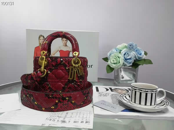 Replica Lady Dior Mini Cannage Snake Leather Red Tote Bags 0573