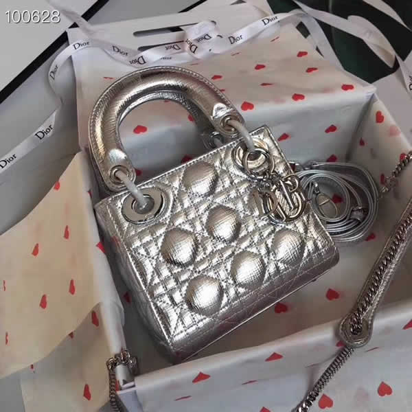 Fake Cheap Dior Lady Pocket Silver Tote Messenger Bags With Silver Hardware