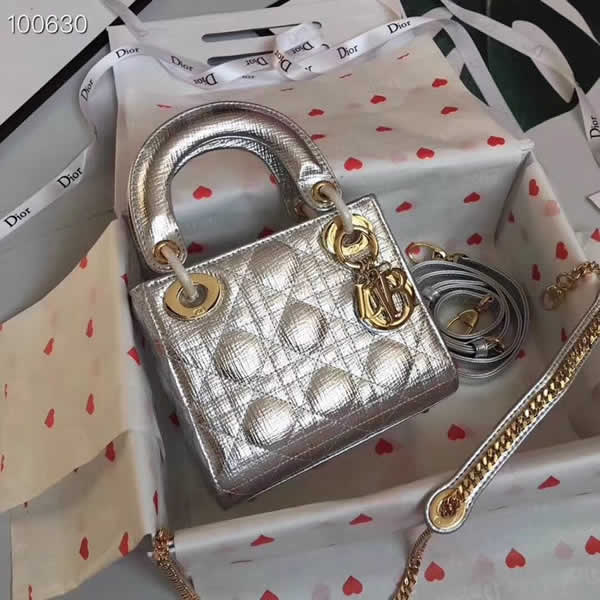 Fake Cheap Dior Lady Pocket Silver Tote Messenger Bags Golden Hardware