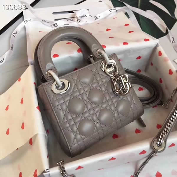 Fake Cheap Dior Lady Pocket Gray Tote Messenger Bags With Silver Hardware
