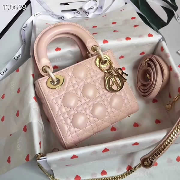 Fake Cheap Dior Lady Pocket Pink Tote Messenger Bags With Golden Hardware