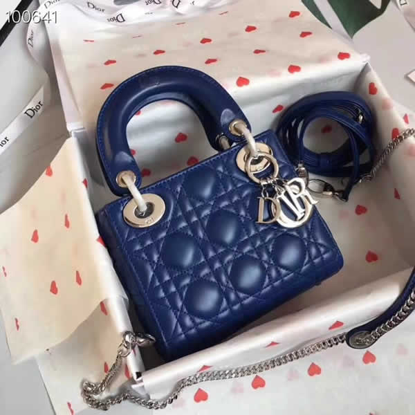 Fake Cheap Dior Lady Pocket Blue Tote Messenger Bags With Silver Hardware