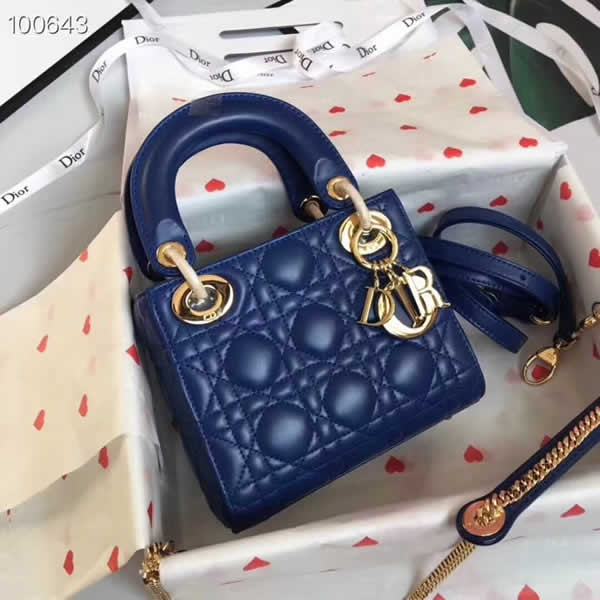 Fake Cheap Dior Lady Pocket Blue Tote Messenger Bags With Golden Hardware