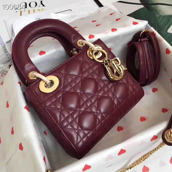 Fake Cheap Dior Lady Pocket Red Tote Messenger Bags With Golden Hardware